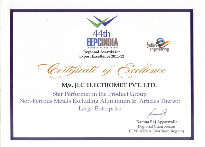 JLC Nicekl Alloys wins the EEPC India National Award for Export Excellence during 2011-12 – Star Performer given By Engineering Export Promotion Council (EEPC), India